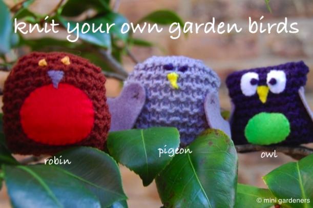 knitted garden birds