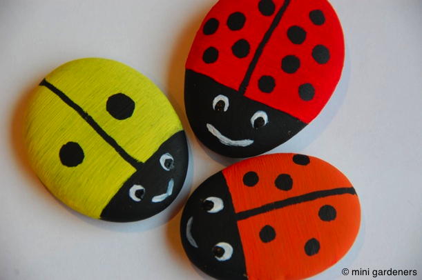painted ladybird pebbles