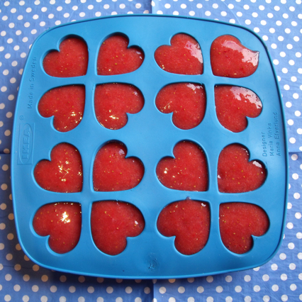 frozen strawberry puree hearts